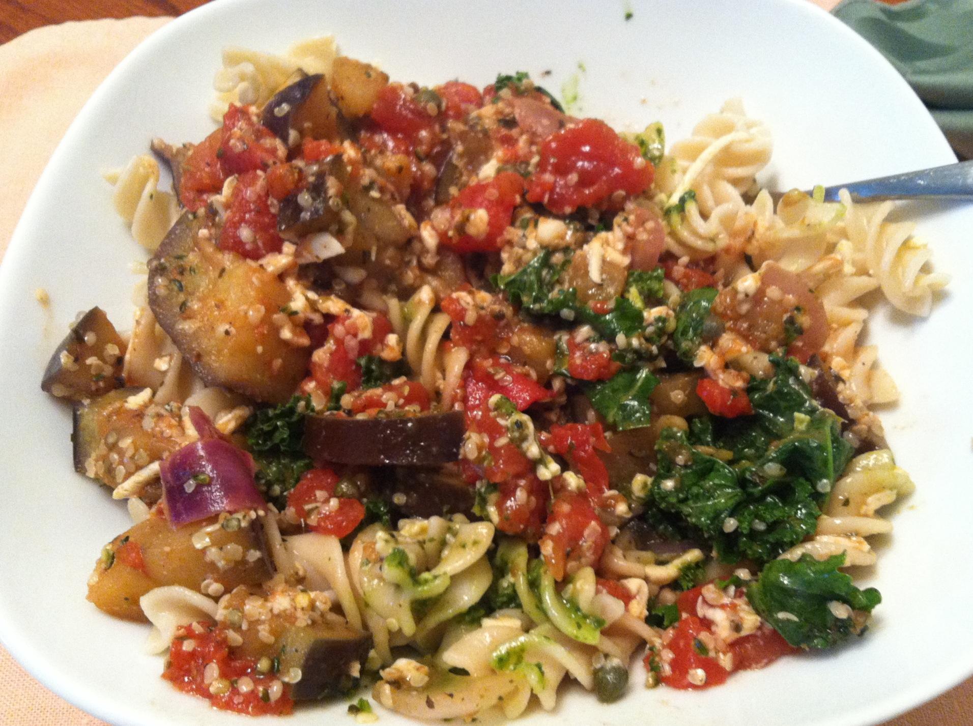 Gluten-free Vegan Eggplant Pesto Pomodoro