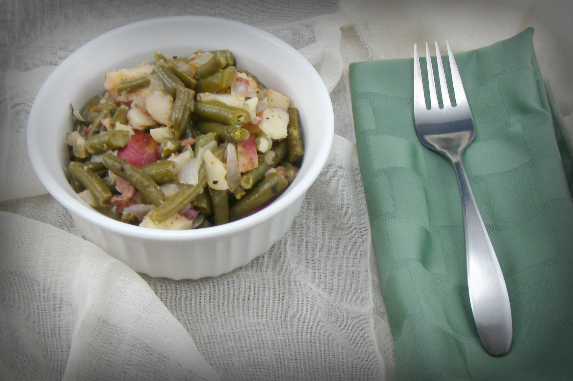 Warm Green Bean and Potato Salad (with vegan option)