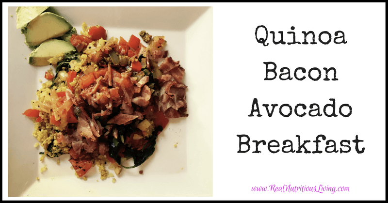 Quinoa Bacon Avocado Breakfast Recipe // realnutritiousliving.com