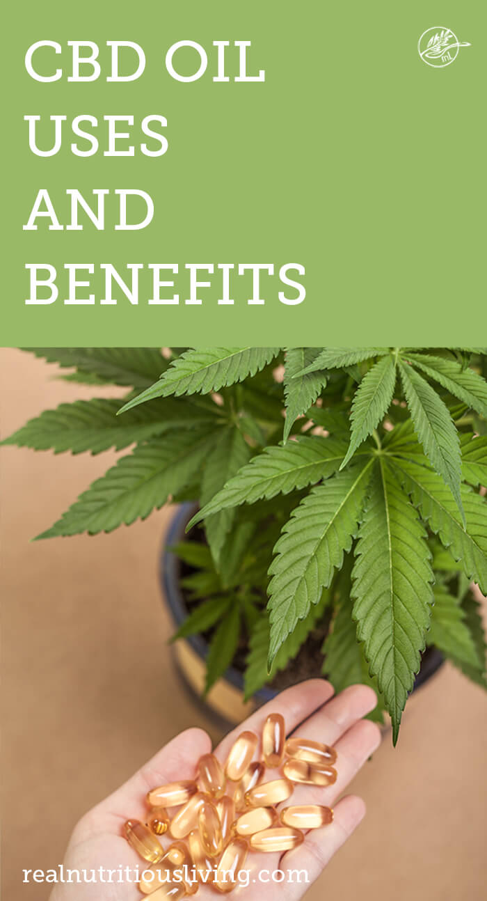 graphic for cbd uses and benefits hand with cbd pills and cannabis plant