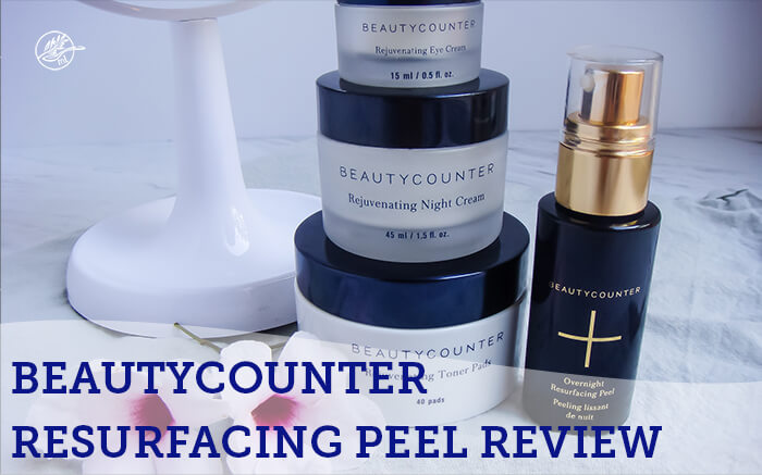 graphic with beautycounter products facial peel on table with flowers and white background