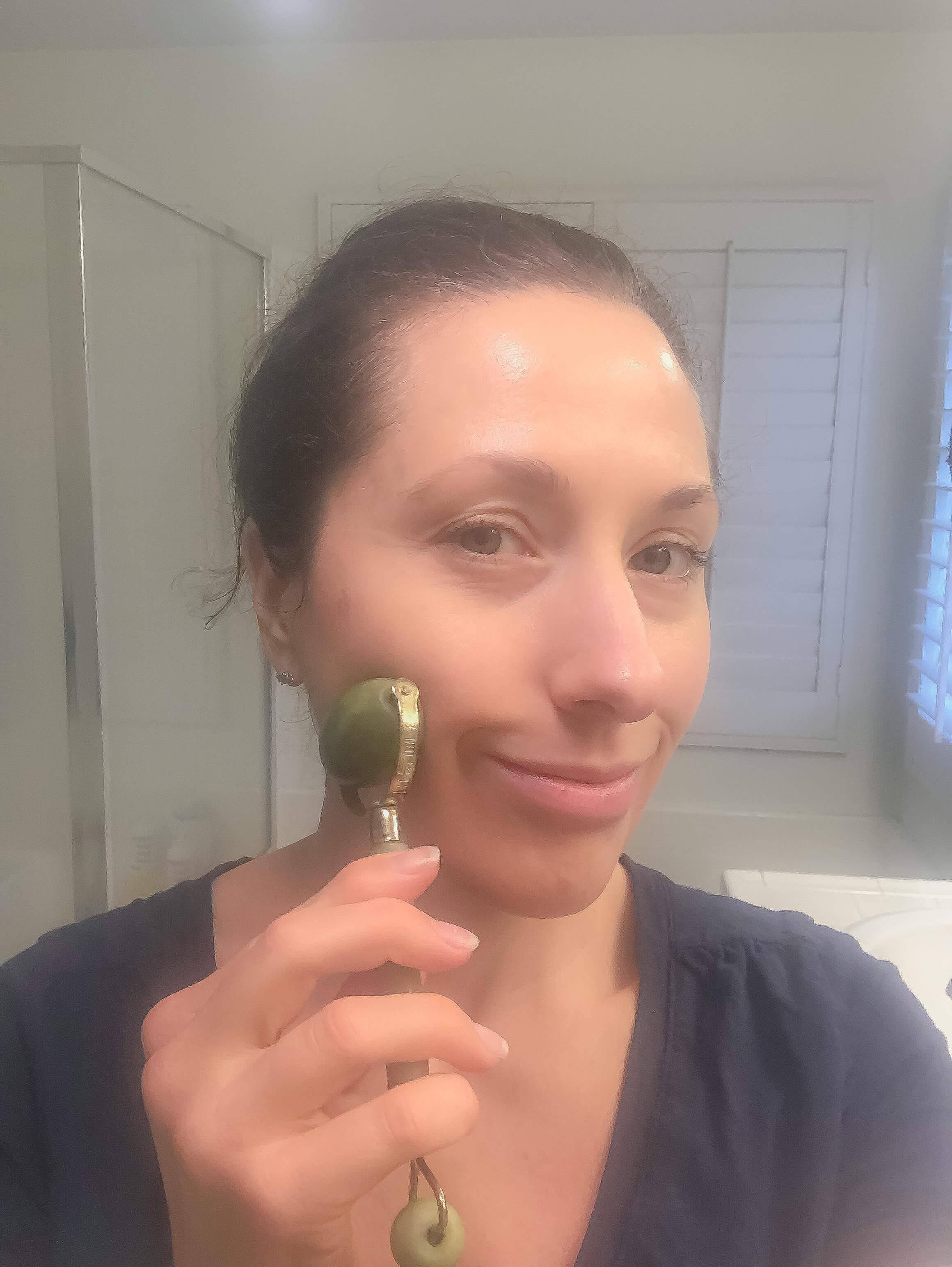 Jade rolling cheek